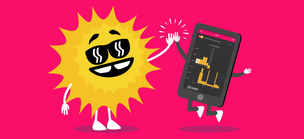 Solar energy insights in the Powershop app
