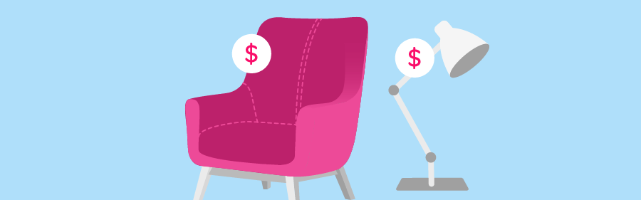 Graphic of furniture with price tags