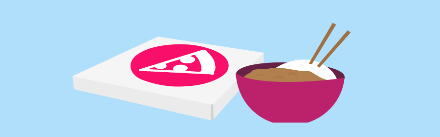 Graphic of pizza and bowl of Japanese curry