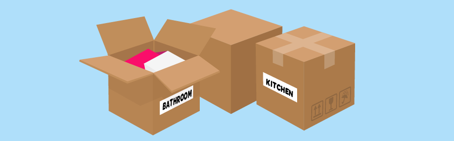 Graphic of moving boxes with Kitchen and Bathroom labels