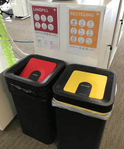 Photo of landfill & recycling bins with posters