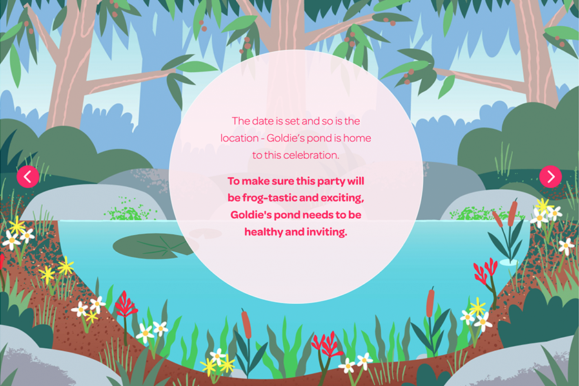 Graphic showing the Pond Party game