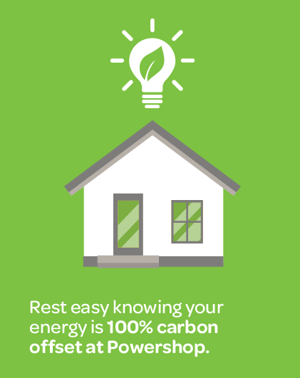 graphic of a home explaining you can rest easy knowing your energy at Powershop is 100 percent carbon offset
