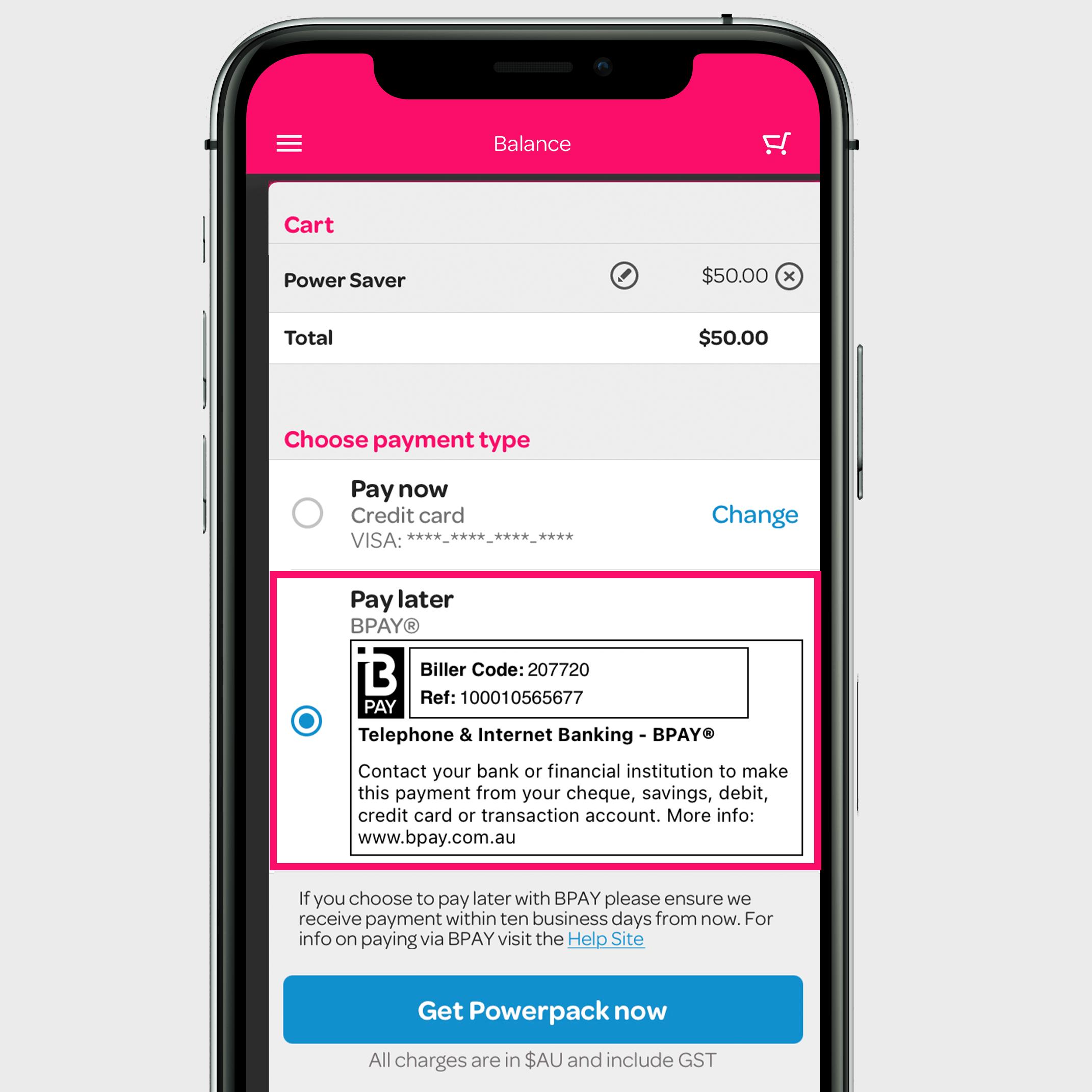 image of the Powershop app BPAY option