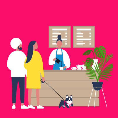 Graphic of two people buying coffee at a cafe