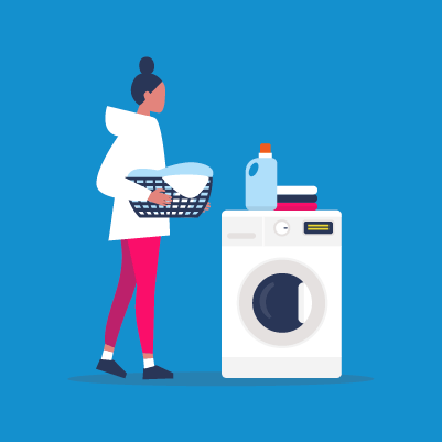 Graphic of a person doing washing