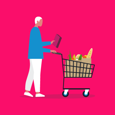 Graphic of a person shopping for groceries