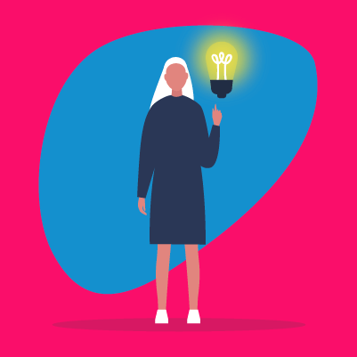 Graphic of a person holding a light bulb