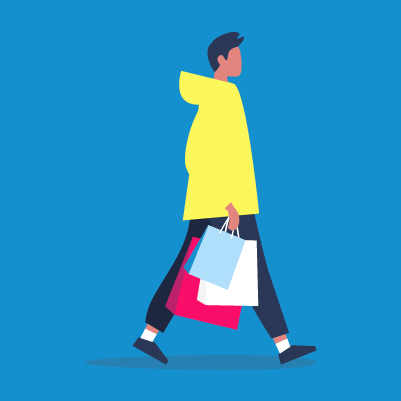 Graphic of a person carrying shopping bags