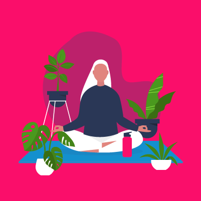 Graphic of a person meditating surrounded by flowers