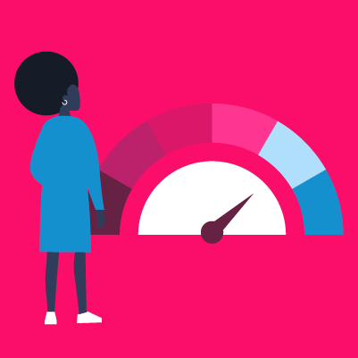 Graphic of a person standing next to a temperature gauge