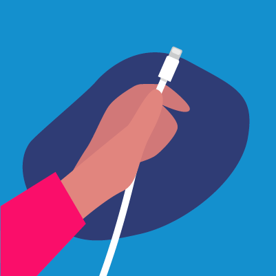Graphic of a hand holding a charging cord