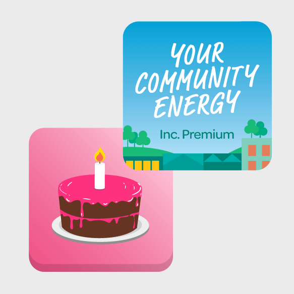 Graphic of the Your Community Energy tile and a Special tile